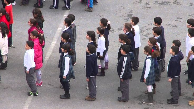 İstiklâl Marşı - (The Turkish national anthem). Turkish national anthem at a school. Children(students) have to sing the Turkish national anthem before going into class. This is to honor Ataturk a great national political leader who invented the Turkish school system.
