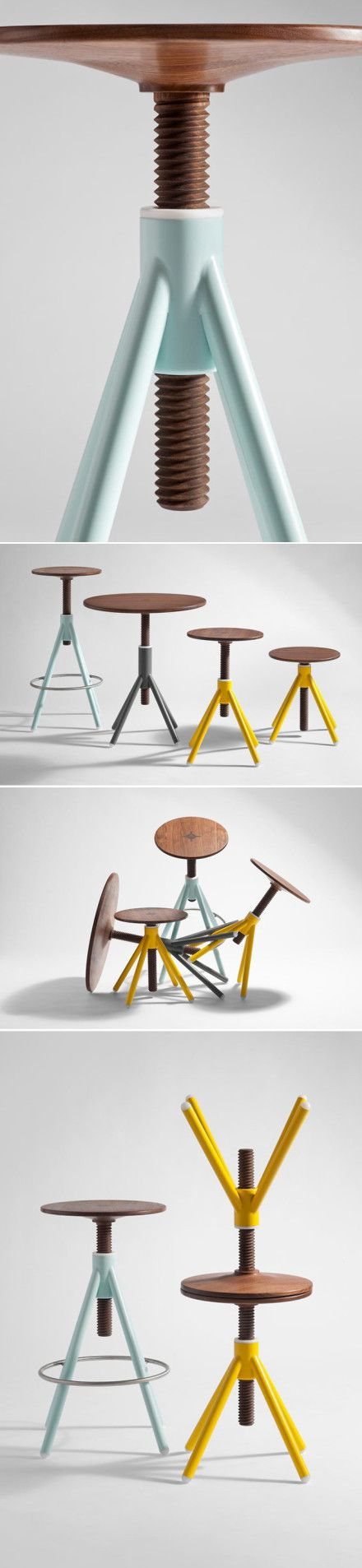 Stool-perhaps for the computer desk-could double as a side table. Love the wood and robin's egg blue.