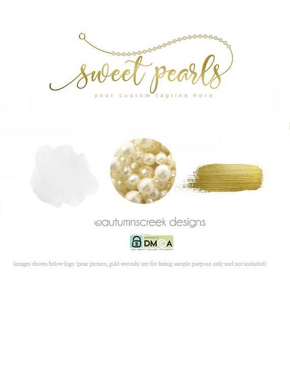 premade logo jewelry logo pearl logo pearl strand logo premade