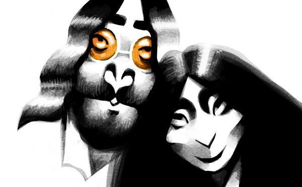 Victor Melamed caricature of John Lennon and Yoko Ono