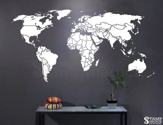 Best 25 world map wall decal ideas on pinterest world map decal world map countries wall decal world map decal wall art mural country borders outline matt vinyl chalkboard dry erase sticker k295w gumiabroncs Image collections