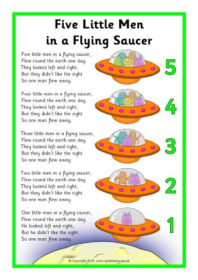 Five Little Men in a Flying Saucer Song Sheet (SB11650) - SparkleBox