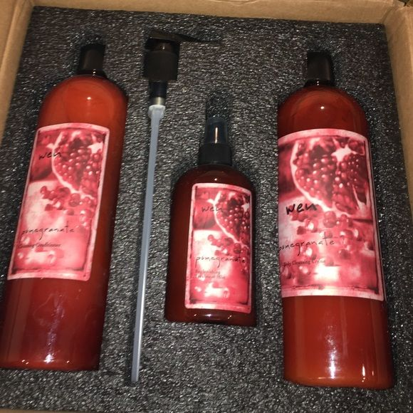 NWT wen hair care set Includes: 2 32oz un opened bottles ( cleansing conditioner and body cleansing creme )  pump, and 12 oz replenishing mist in pomegranate Wen  Makeup