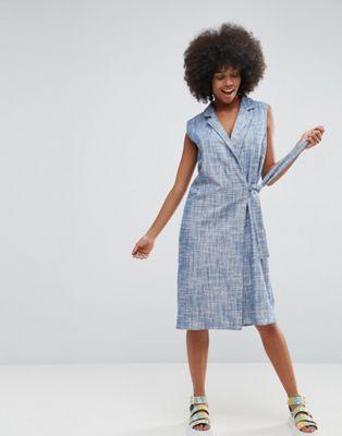 Платье с запахом из ткани шамбре ASOS Made In Kenya