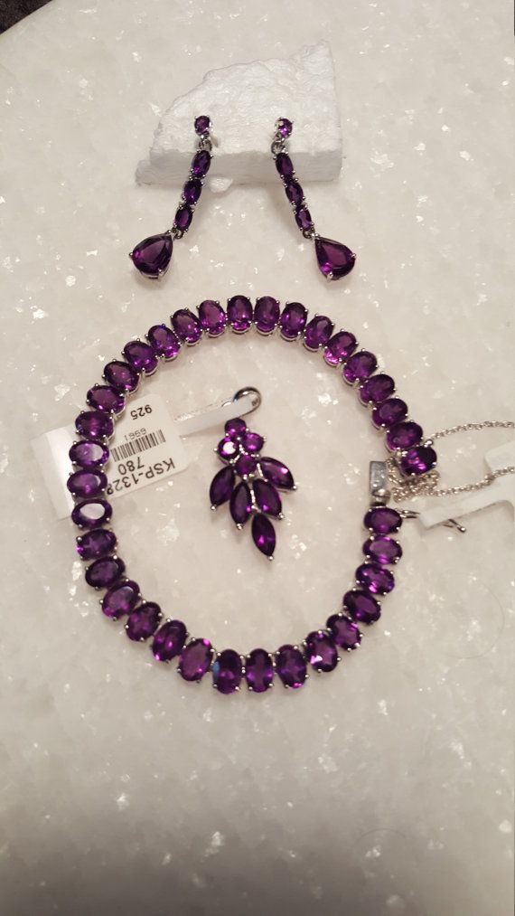 Hand Made Silver Jewelry - Polished Amethyst Collection
