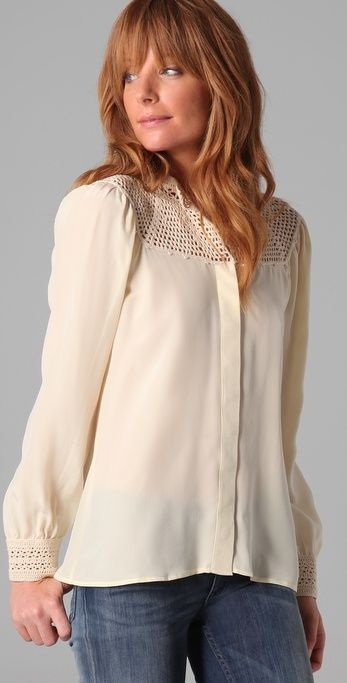 Buy Beyond Vintage Women's White Crochet Yoke Blouse, starting at €124. Similar products also available. SALE now on!