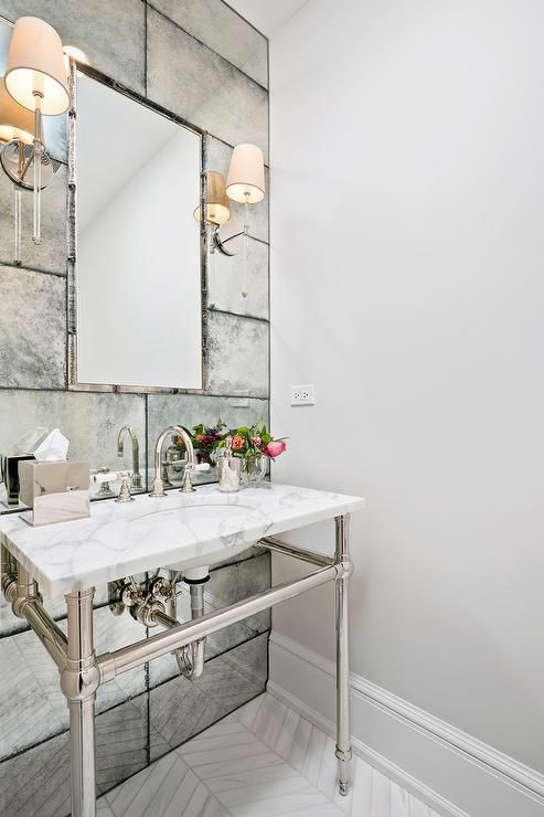 Artistic Tiles Straight Edge Antiqued Mirror Hand Silvered