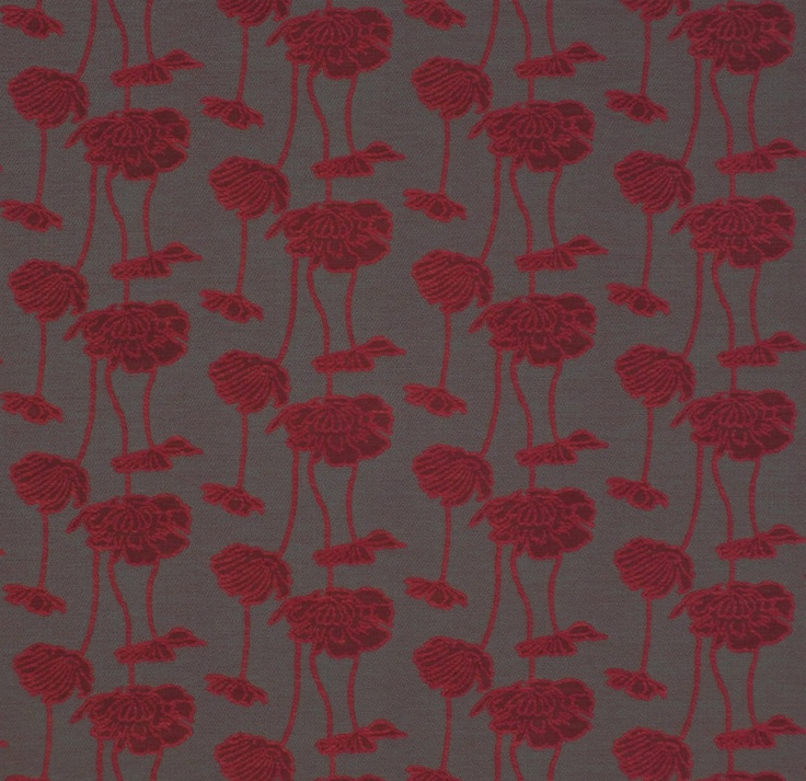 Red flower upholstery - Tall Poppy Cardinal by Charles Parsons Interiors #fabric #upholstery #red #poppy #flower #floral #charlesparsonsinteriors