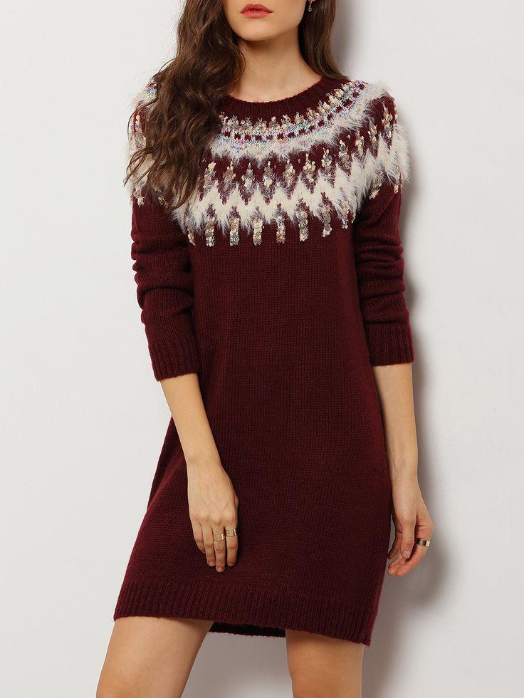 Vestido cuello redondo estampado étnico-(Sheinside)