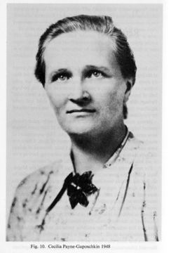 Cecilia Payne-Gaposchkin (May 10, 1900 – December 7, 1979) was an English-American astronomer and astrophysicist who in 1925 proposed in her PhD thesis an explanation for the composition of stars in terms of the relative abundances of hydrogen and helium.