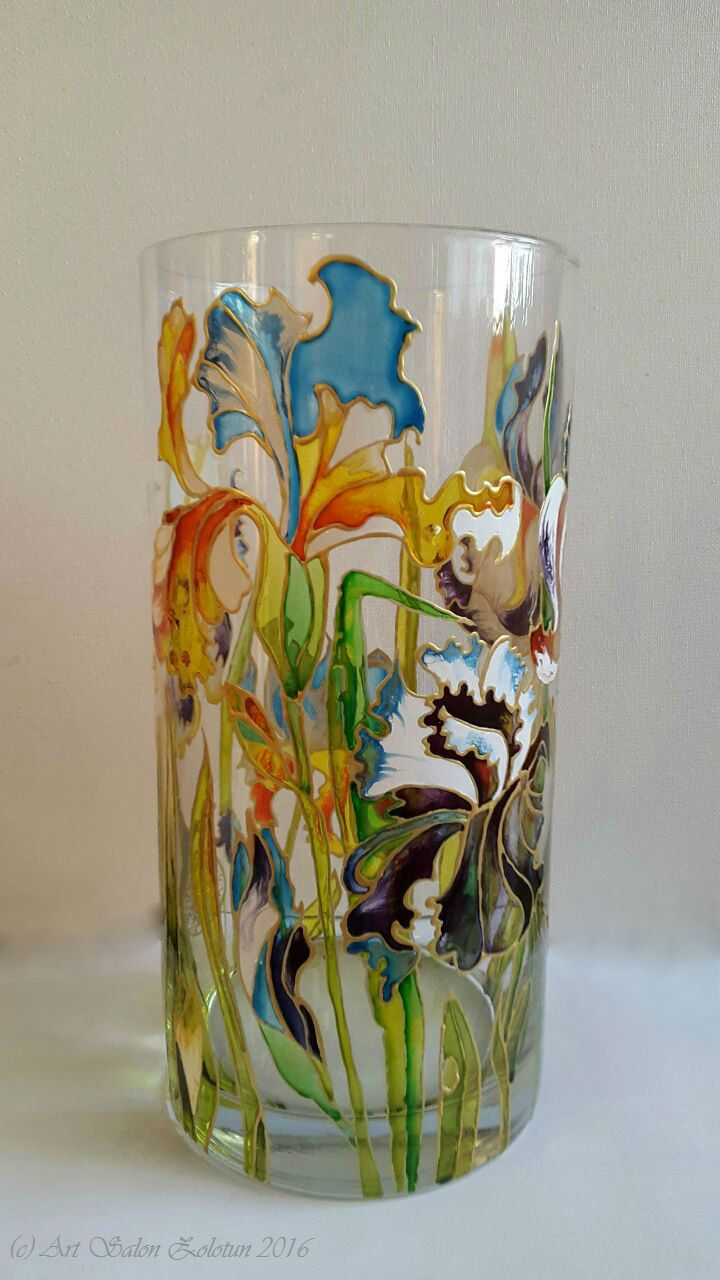 "Hand painted, stained glass vase ""Irisis"" by Zolotun on Etsy"