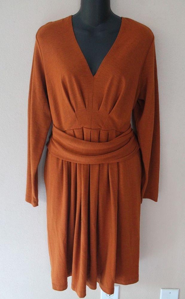 fa5910f268 Donna Karan DKNY Women s Burnt Orange Wool Blend V Neck Pleat Dress sz L  MC01  DKNY