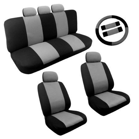 Dual Color Two Tone Car Seat Cover Set 1teering Wheel Cover Set (Black and Grey)