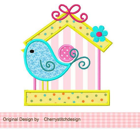 Cute Bird and Birdhouse Applique 4x4 5x7 by CherryStitchDesign, $2.99