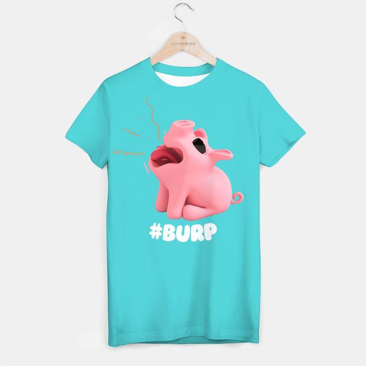 Rosa the Pig Burp Blue T-shirt, Live Heroes