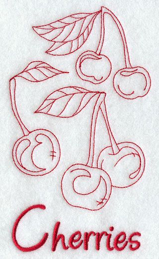 Machine Embroidery Designs at Embroidery Library! - Cherries (Redwork)