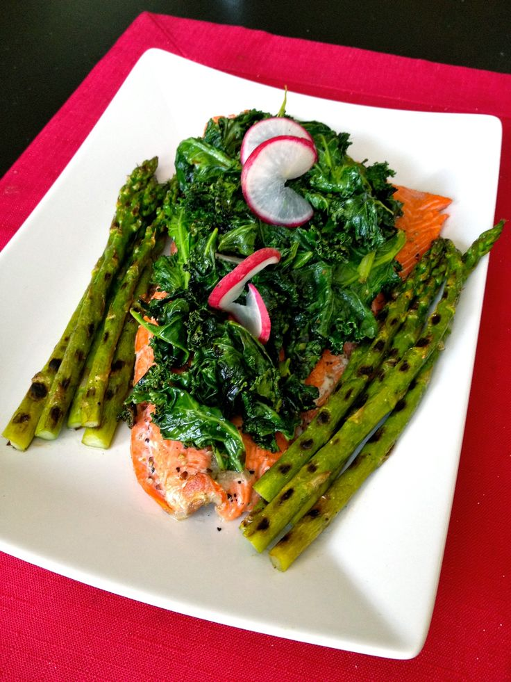 Sockeye #Salmon with #Kale & #Asparagus