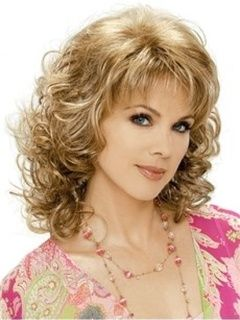 Sweet Medium Curly Blonde 16 Inches Synthetic Hair Wigs Original Price: $199.00 Latest Price: $47.39