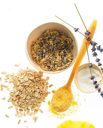 DIY Oatmeal-Lavender Face Scrub. 1 cup oatmeal, 1/2 cup dry lavender flowers (stripped of stalks), 1/2 cup powdered milk (either whole or nonfat), 2 tsp. cornmeal. Mix all ingredients in a bowl, massage into damp skin, and rinse with warm water. Scrub will keep for six months.: Facials Scrubs, Body Scrubs, Faces Scrubs, Lavender Flowers, Diy Oatmeal Lavender, Diy Beautiful, Facials Masks, Oatmeal Cups, Beautiful Products