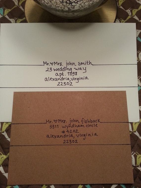 Handwritten addressing of envelopes
