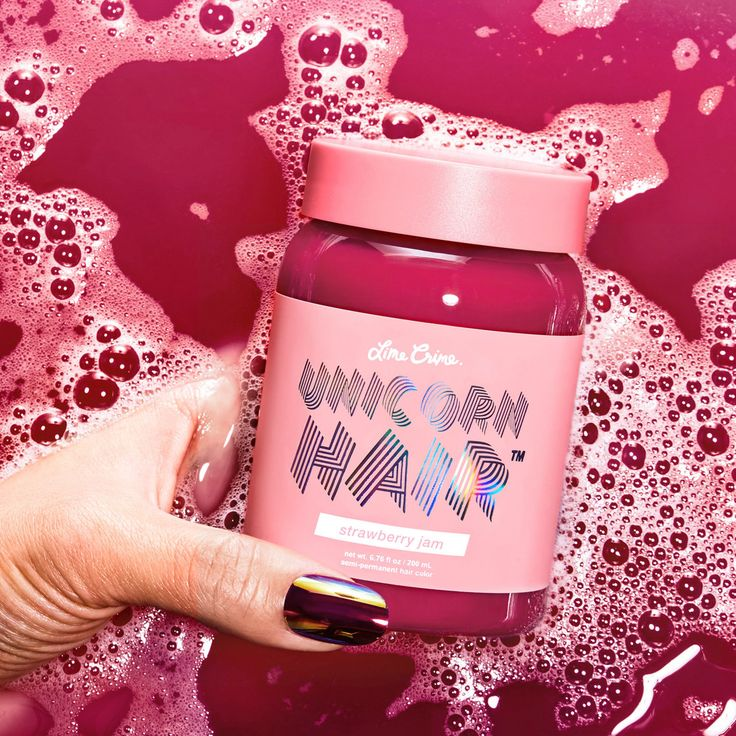 "Introducing: ""strawberry jam"" Unicorn Hair dye, hyper-performance hair color from Lime Crime that leaves hair feeling silky-smooth and smelling like a meadow!"
