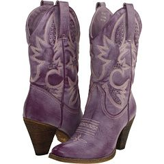 "Purple cowgirl boots.  ""The best thing about being a woman, is the prerogative to have a little fun!"""