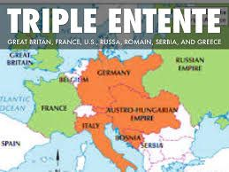 The Triple Entente was the military alliance formed between Russia, Great Britain and France before World War 1. An example of Triple Entente is Russia, Great Britain and France's formal bond which was formalized in 1907 to offset the alliance formed between imperial Germany, Austria- Hungary and Italy.