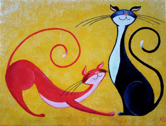Original Cat Acrylic Painting for Sale Two door NaturelandsAndCo, $45.00