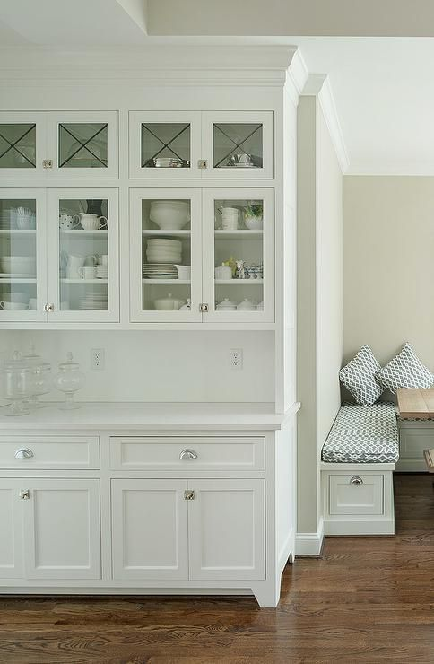 Built In Kitchen Hutch with Glass Doors, Transitional, Kitchen