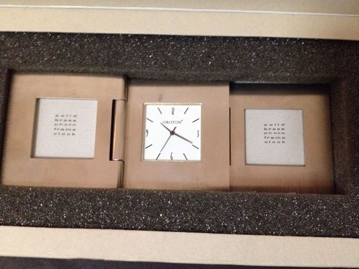 AS NEW - Oroton Soild Brass Clock with Photo Frame - St George Bank Logo