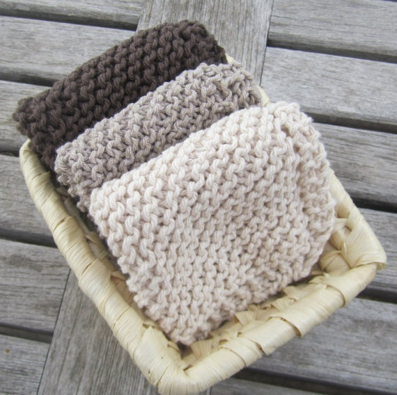 handmade washcloths or dishcloths from LadyshipDesigns on Etsy