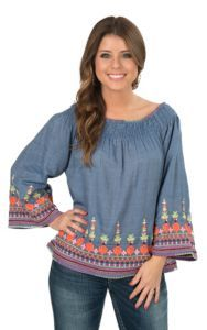 Ivy Jane Women's Denim Peasant Top with Embroidery | Cavender's