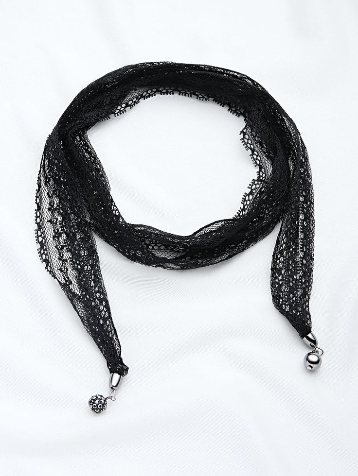 Lace Wrap Choker Necklace With Charm -SheIn(Sheinside)