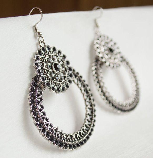 Dangle Earrings – Chandelier Metal Earring Antique Silver – a unique product by unikacreazioni-artisan on DaWanda