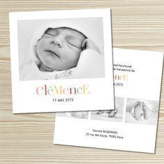 Tanni Lou - Faire-part naissance CLÉMENCE   Modèle personnalisable gratuitement (texte et couleur)