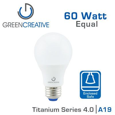 green creative titanium led light bulb 60 watt replacement suitable for fully enclosed fixtures