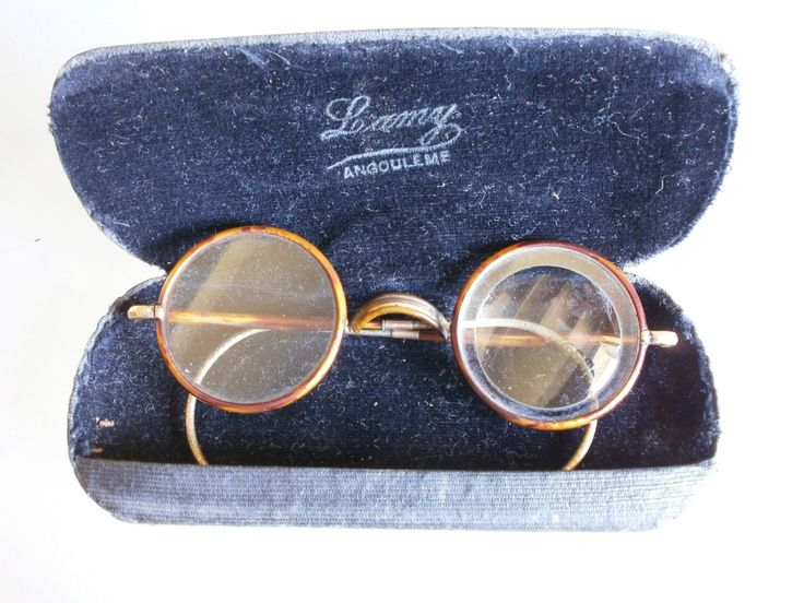 Antique French Metal Glasses Spectacles Lunettes C1920s Jewellers Loupe Yellow Metal, with Case from Angouleme Opticians by Vintagemaison on Etsy