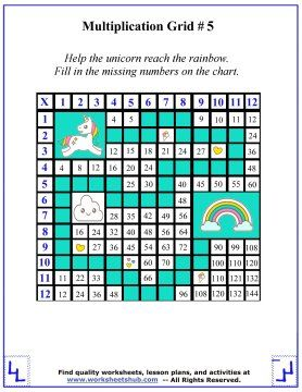 Times Table Unicorn Maze Multiplication Worksheets