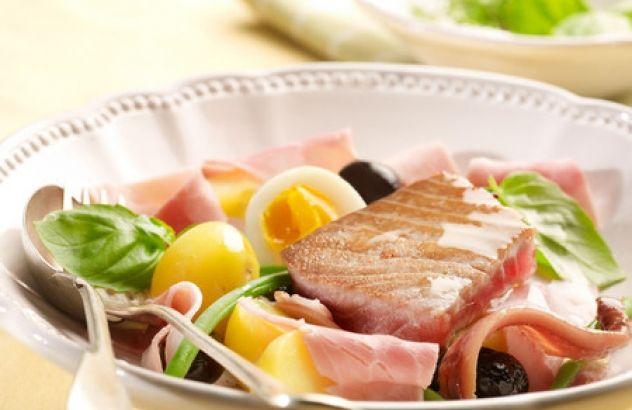Salade Niçoise met gekookte ham
