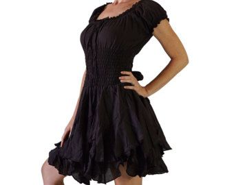 Saule robe brun foncé - Pirate, robe Steampunk, agitation, nœud jupe, robe gitane, coton léger, Renaissance Costume Zootzu féminin