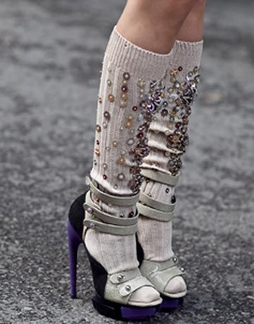 foot drama: balenciaga sandals styled with embellished miu miu socks