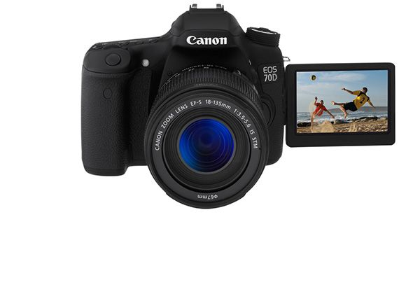 Canon 70D DSLR Review: Fast Focus for Stills and Video. Canon's EOS line is one of the most versatile in the industry, ranging from novice to pro models. The 20.2-megapixel 70D (MSRP: $1,199, body only, $1,349 with 18-55mm lens) targets video buffs with its new autofocus technology that lets you keep moving subjects in focus when recording clips. It also produces smoother, more natural-looking video than most DSLRs.