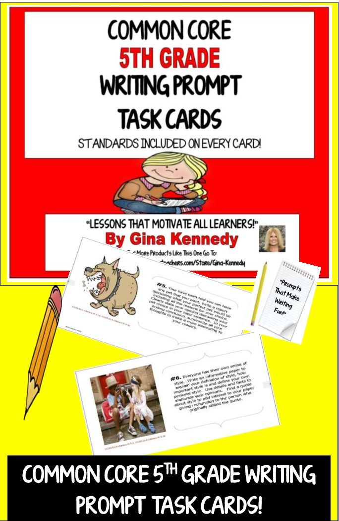 Twenty-five 5th Grade Writing Prompt Task Cards with Writing Projects Directly Aligned to the 5th Grade Common Core Language Arts Standards.  Standards included on the task cards.  The prompts on these cards are fun, interesting and relevant to 5th grade students. Each prompt directs the student to complete a writing project following the directions on the prompt.  I have also included a rubric to use for each prompt.