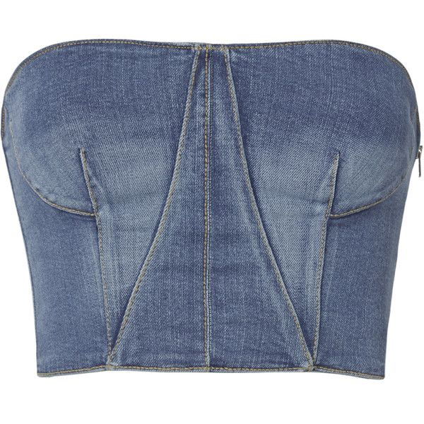 Denim Bustier Top ($395) ❤ liked on Polyvore featuring tops, blue, blue bustier, jonathan simkhai, blue crop top, cropped tops and denim bustier top