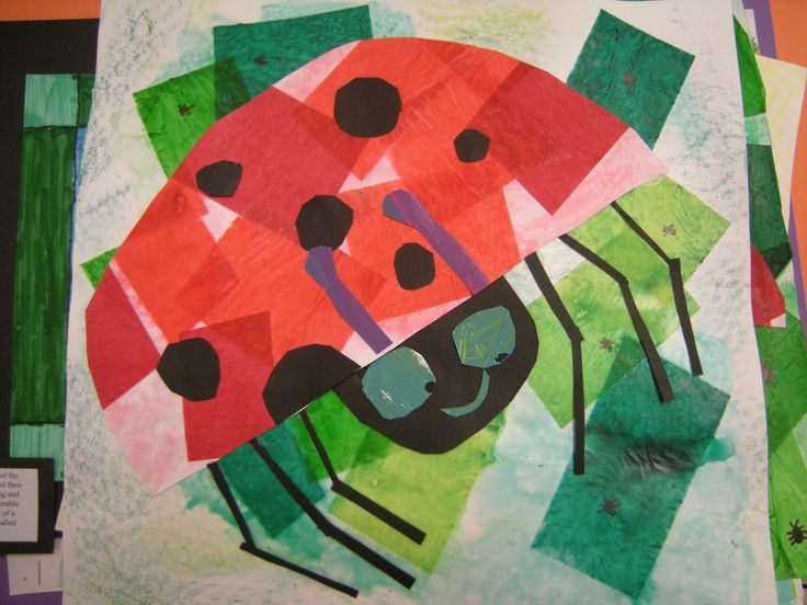 In art class, we read the story The Grouchy Ladybug by Eric Carle. He is an illustrator, who is the artist that creates the pictures in books. First graders created a ladybug using tissue paper like Eric Carle. They also added aphids to my artwork, which are little bugs that eat plants. They learned that ladybugs eat aphids and help save our plants!