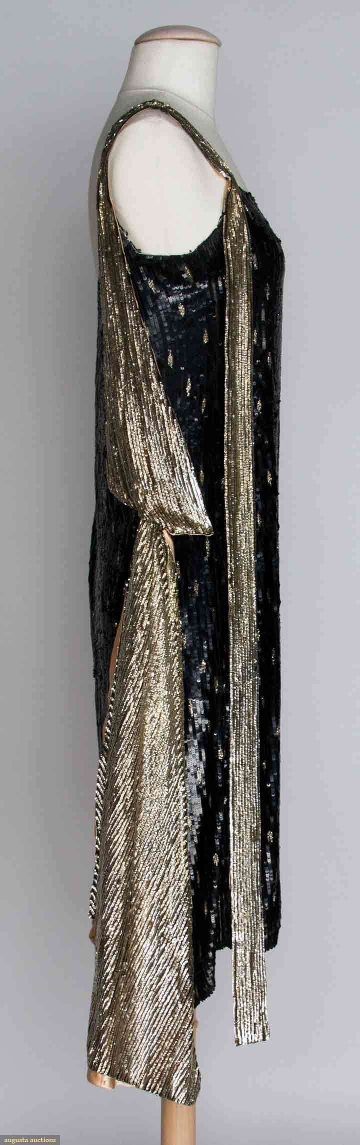 SEQUINED FLAPPER DRESS, 1920s New York City Straight sheath completely covered in small black sequins, inset w/ pattern of small silver dashes, silver sequined scarf on left shoulder. Sideway