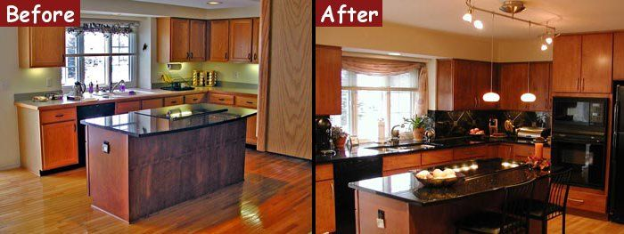 25 best images about kitchens before and after on for Small galley kitchen remodel before and after