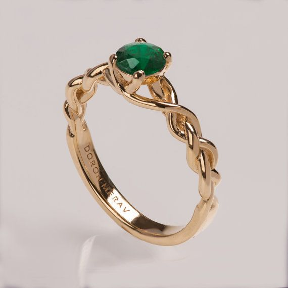 Braided Engagement Ring No.2 14K Gold and Emerald by doronmerav