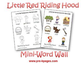 Printable Little Red Riding Hood Mini Word Walls via www.pre-kpages.com