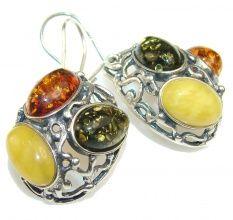 Fabulous Polish Amber Sterling Silver earrings